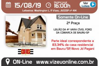 LEILÃO DA 4ª VARA CÍVEL FORO DA COMARCA DE BAURU-SP
